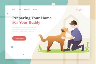 Pet adoption - landing page illustration