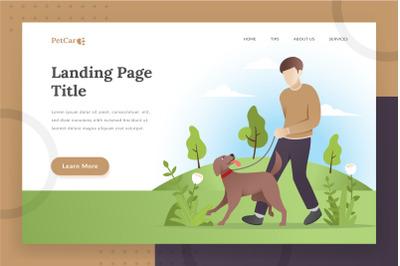 Pet care landing page illustration