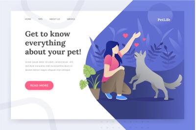 Pet life - landing page illustration