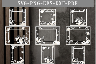 Bundle Of 9 Photo Frame Papercut Templates, Laser Vector, SVG, EPS, DX