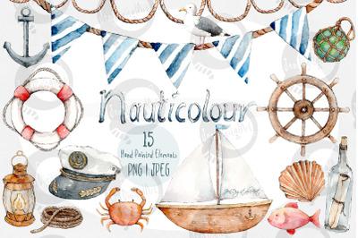 Nauticolour   Hand-Painted Watercolour 15 Piece Clip Art Set