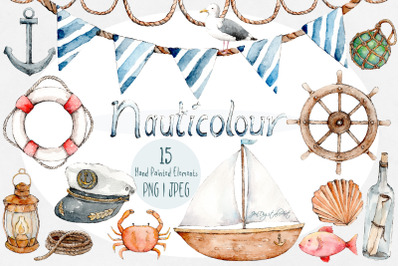 Nauticolour | Hand-Painted Watercolour 15 Piece Clip Art Set