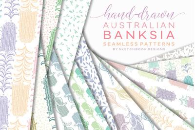 Hand drawn Australian Banksia Digital Seamless Pattern Set