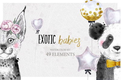 EXOTIC BABIES watercolor set