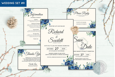 Wedding Invitation Set #9 Hand Painted Watercolor Floral Flower Style