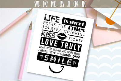 Life is short Vector typography SVG