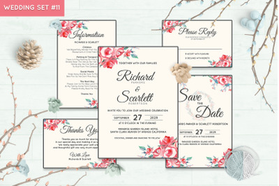 Wedding Invitation Set #11 Hand Painted Watercolor Floral Flower Style