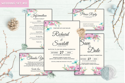 Wedding Invitation Set #12 Hand Painted Watercolor Floral Flower Style