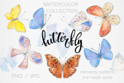 Butterflies. Watercolor collection.