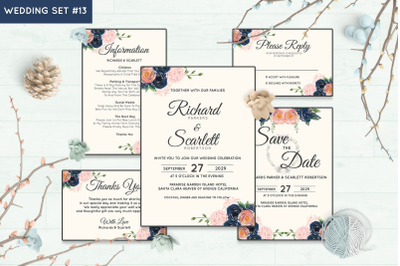 Wedding Invitation Set #13 Hand Painted Watercolor Floral Flower Style