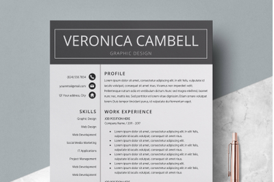 Professional Resume / CV Template Word - Veronica