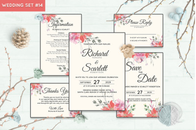 Wedding Invitation Set #14 Hand Painted Watercolor Floral Flower Style