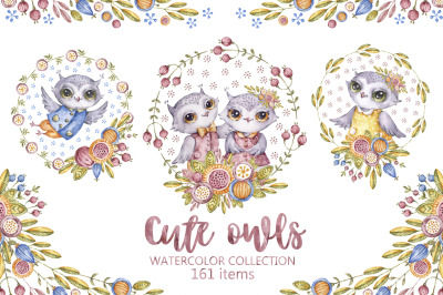 Cute owls. Watercolor collection with floral forest birds.