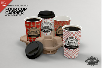 4-Cup Carrier Packaging Mockup