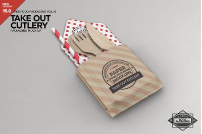 Takeout Cutlery Utensils Mockup