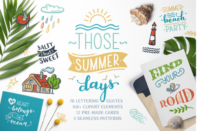 THOSE SUMMER DAYS lettering&clipart