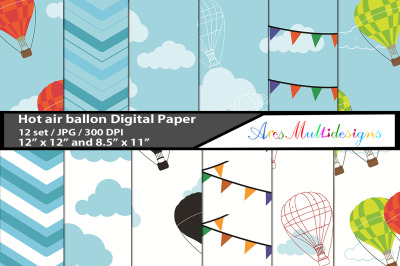 Hot air ballon digital papers 300 DPI