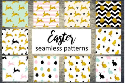 Golden Easter Seamless Patterns