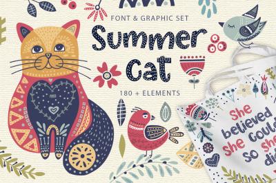 Summer cat. Font + graphics.