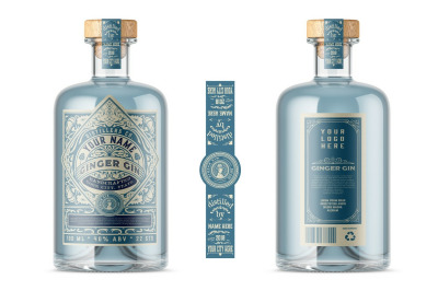 Vintage Liquor Bottle Packaging Layout with Teal Accents