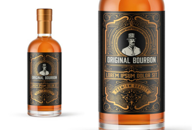 Vintage Bourbon Label Layout