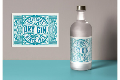 Vintage Gin Label Layout with Teal Accents