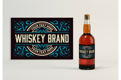 Vintage Whiskey Label Layout with Cream and Teal Accents