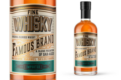Vintage Whiskey Label Layout with Gold and Teal Accents