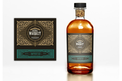 Vintage Whiskey Label Layout with Gold and Teal Elements