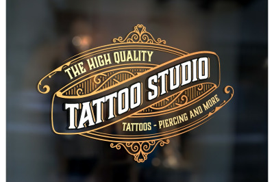 Vintage Tattoo Logo with Gold Elements