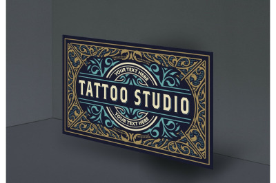 Vintage Tattoo Logo with Gold and Blue Elements