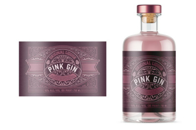 Vintage Gin Label Layout with Pink Elements