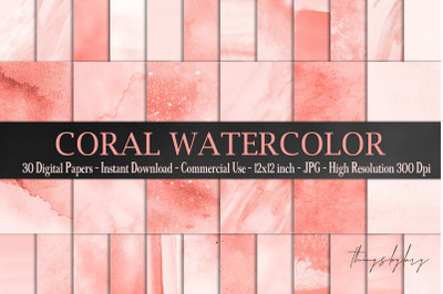 30 Ombre Coral Watercolor Brush Stroke Dye Digital Papers