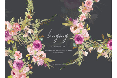 Watercolor Dusty Pink and Purple Flowers Wreath Set