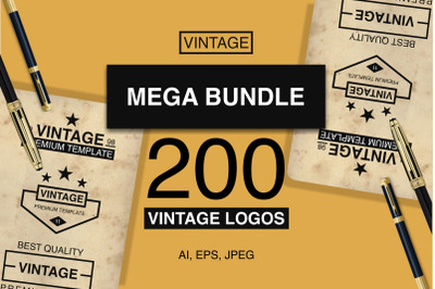 200 Modern Vintage Logos Unique VOL 1