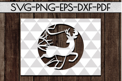Deer Frame Papercut Template, Wild Adventure Scenery SVG PDF