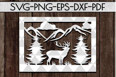Wild Life Papercut Template, Woodland Adventure Scenery SVG