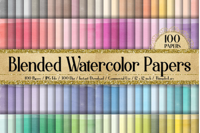100 Blended Watercolor Paint Ink Dye Texture Digital Papers