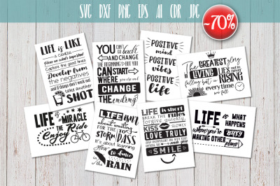 8 Inspirational quotes bundle sign SVG