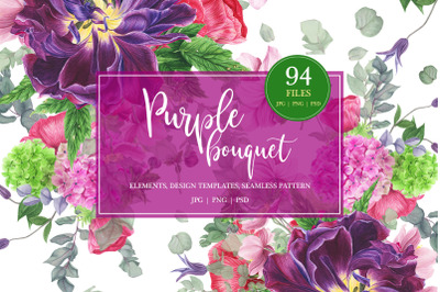 Purple bouquet watercolor clipart