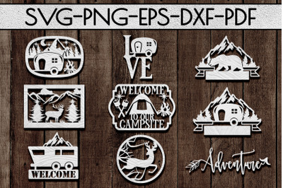 Camping Sign Papercut Templates Bundle, Adventure Awaits SVG, DXF