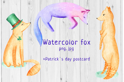 Watercolor fox +Patrick`s day