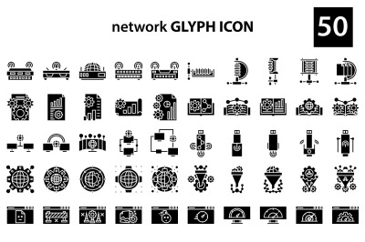 network 50 glyph icon