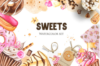 SWEETS. Watercolor set.