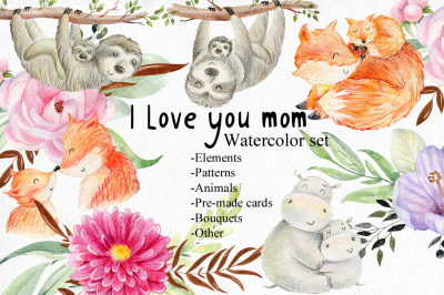 Mom and Baby. Watercolor set.