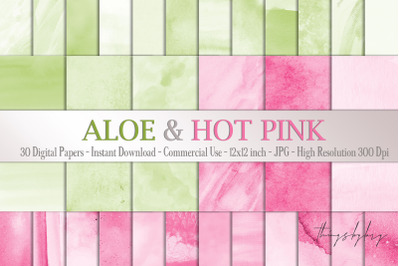 30 Ombre Aloe & Hot Pink Spring Watercolor Digital Papers