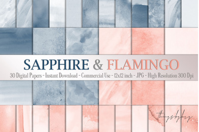 30 Ombre Sapphire & Flamingo Watercolor Digital Papers