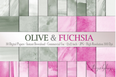 30 Ombre Olive & Fuchsia Painted Watercolor Digital Papers