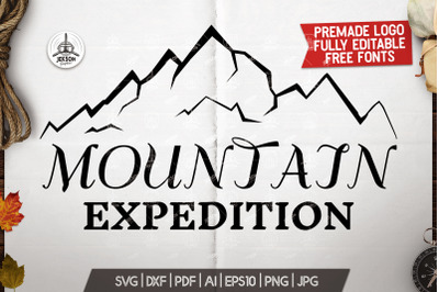 Mountain Expedition Logo Template, Retro Camp SVG File