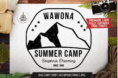 Summer Camp Logo Template, Retro California Badge SVG File